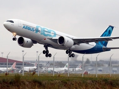 An Airbus A330neo aircraft takes off during its maiden flight event in Colomiers near Toulouse, France