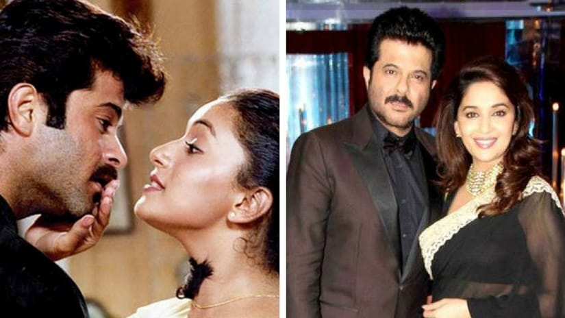 Madhuri Dixit and Anil Kapoor in 1989 film Parinda (left); the on-screen duo in Jhalak Dikhlaa Jaa. Images via Facebook