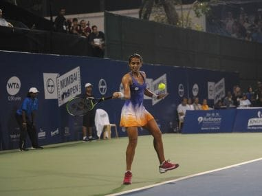 Ankita Raina in action at the Mumbai Open in the quarter-finals.