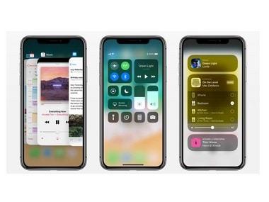 iOS 11 interface on iPhone X .