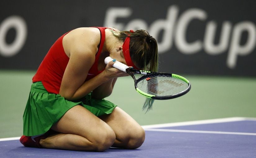 Aryna Sabalenka reacts after defeating Sloane Stephens in the Fed Cup. This win was the biggest of her career so far. Reuters