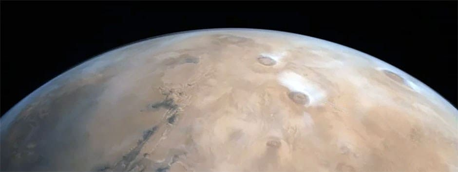 ISRO releases image of Mars featuring major volcanoes in the Tharsis region captured by Mangalyaan