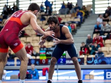 Bajrang Punia in action during the U-23 World Championship final in Poland. Image Courtesy: Twitter/@wrestling