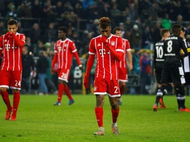 Bayern Munich's Kingsley Coman and Corentin Tolisso look dejected at the end of the match against Gladbach. Reuters