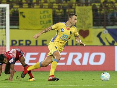 Keralal Blasters's Dimitar Berbatov in action against Jamshedpur FC. ISL