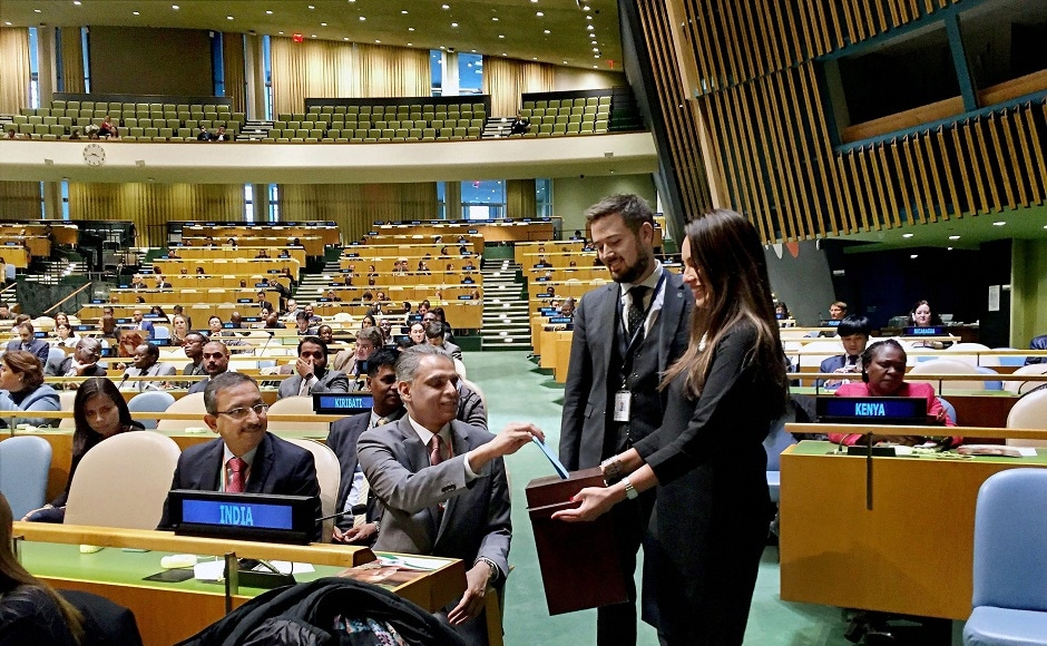 India's Permanent Representative to the UN, Syed Akberuddin, casted his vote in the United Nations General Assembly. An aggressive campaign by Akbaruddin ensured there was maximum support for Bhandari. PTI