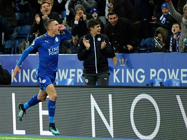 Leicester's Jamie Vardy celebrates after scoring during the English Premier League soccer match between Leicester City and Tottenham Hotspur at the King Power Stadium in Leicester, England, Tuesday, Nov. 28, 2017. (AP Photo/Rui Vieira)