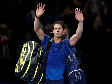 Rafael Nadal of Spain waves to supporters after losing his singles tennis match against David Goffin of Belgium at the ATP World Finals at the O2 Arena in London, Monday, Nov. 13, 2017. (AP Photo/Kirsty Wigglesworth)