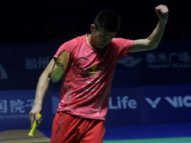 Chen Long celebrates his win over World No 1 Viktor Axelsen at the China Open. AFP