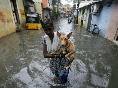 A woman carries a dog as she wades through a water-logged by-lanes in Chennai. Reuters.