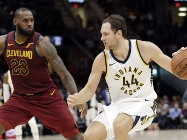Indiana Pacers' Bojan Bogdanovic (44), from Croatia, drives against Cleveland Cavaliers' LeBron James (23) in the second half of an NBA basketball game, Wednesday, Nov. 1, 2017, in Cleveland. The Pacers won 124-107. (AP Photo/Tony Dejak)