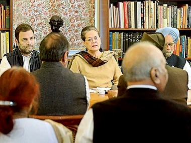 Rahul Gandhi, Sonia Gandhi and Manmohan Singh at the CWC meeting. PTI