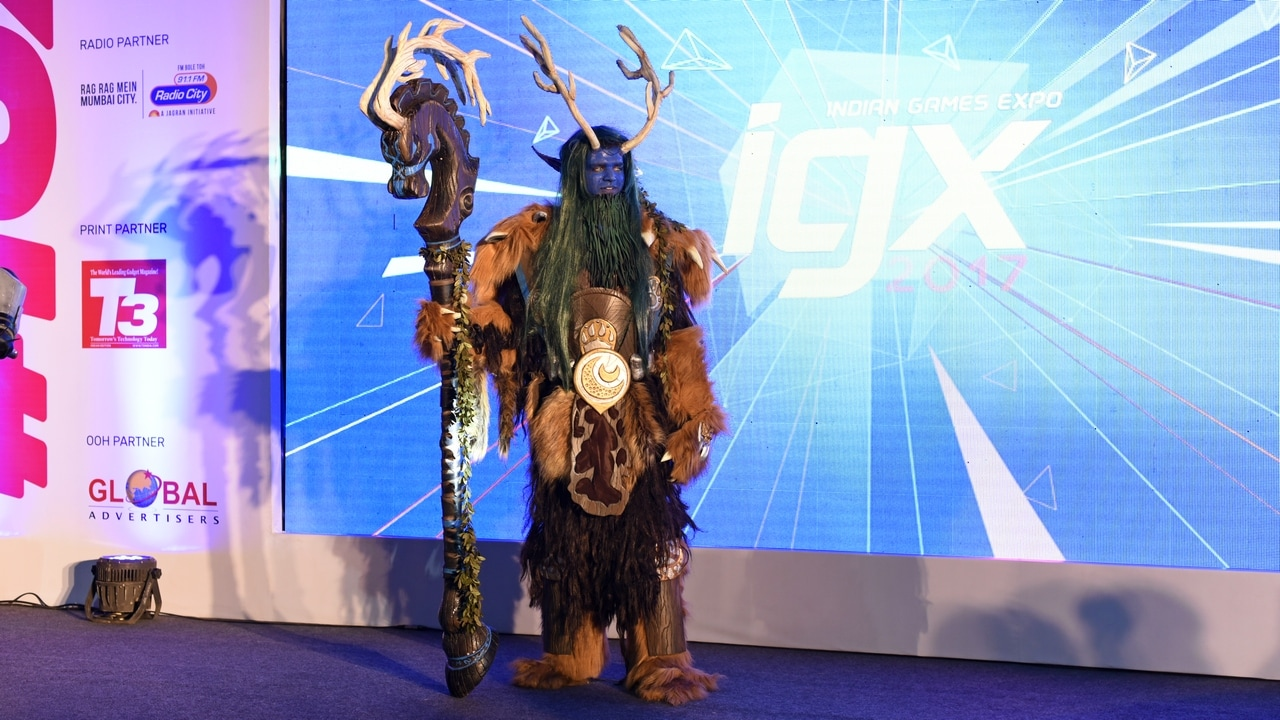 A character from World of Warcraft cosplayed at Indian Games Expo 2017. Image: tech2/Rehan Hooda
