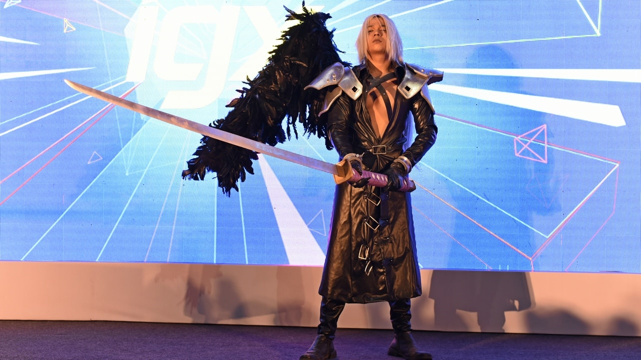 A participant playing Sephiroth from the popular title Final Fantasy 7. Image: tech2/Rehan Hooda