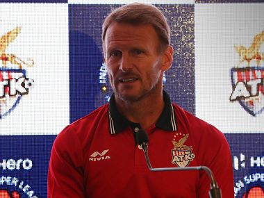ATK coach Teddy Sheringham at the press conference. Image courtesy: Twitter @IndSuperLeague