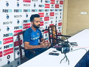 India vice-captain Ajinkya Rahane speaks during a press conference ahead of the first Test. Image courtesy: Twitter @BCCI
