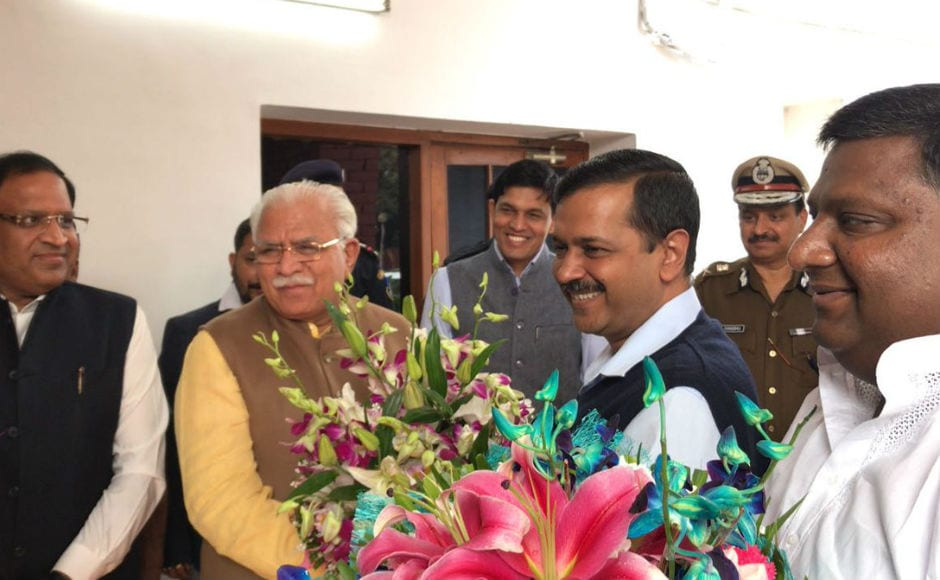Delhi chief minister Arvind Kejriwal arrived in Chandigarh on Wednesday for a meeting with his Haryana counterpart to discuss air pollution and the issue of stubble burning that is a major contributory factor. Twitter @AamAadmiParty