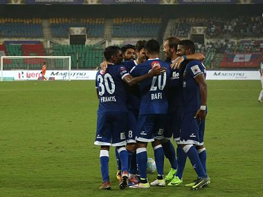 Chennaiyin players celebrate at the final whistle. Image courtesy: Twitter @IndSuperLeague