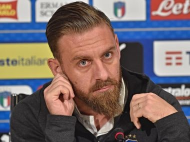 Italy's Daniele de Rossi attends a press conference ahead of World Cup play-off match against Sweden. AP