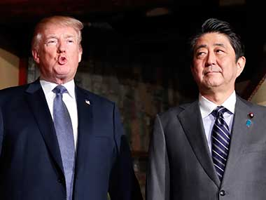 File image of US president Donald Trump, accompanied by Japanese Prime Minister Shinzo Abe. AP