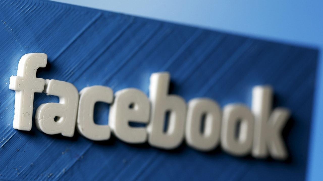 A 3D plastic representation of the Facebook logo. Image: Reuters.