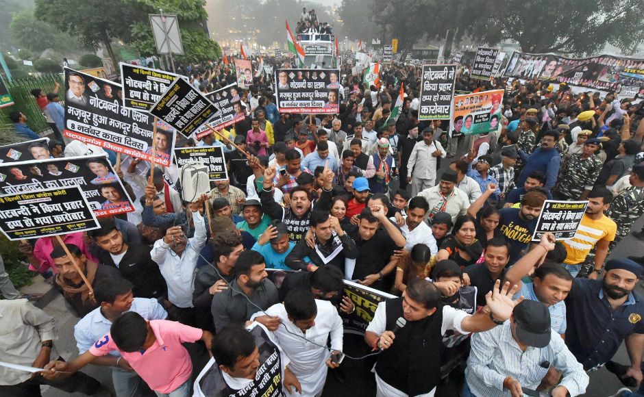 Opposition parties on Wednesday called for street protests to mark the first anniversary of demonetisation, which they observed it as the day of protest. PTI