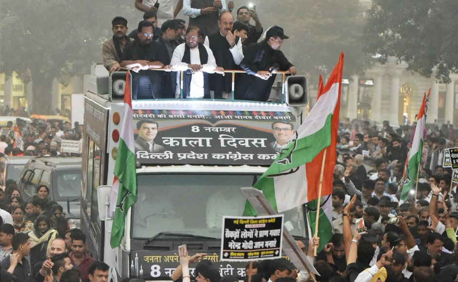 "In Delhi, Congress took out a rally marking the day as ""Black Day"", accusing the government of harming the country's economy with its policies. PTI"