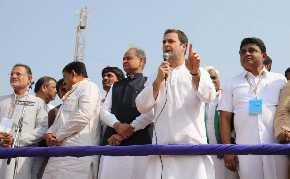 """Speaking in Gandhinagar, Gandhi continued his attack on the central government. """"India doesn't need Gabbar Singh Tax but simple tax. Though they have changed the slabs there is still need for structural change"""