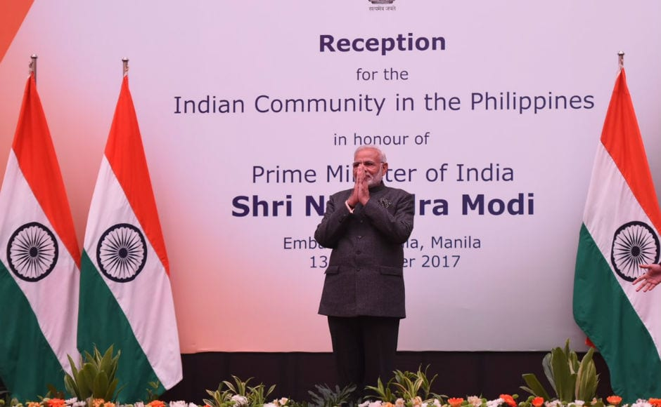 Modi addressed the Indian diaspora in Manila, where he urged Indians to work hard to ensure that the 21st Century belongs to India. He also said that his government was making every effort to transform the country and take it to new heights. Twitter @narendramodi