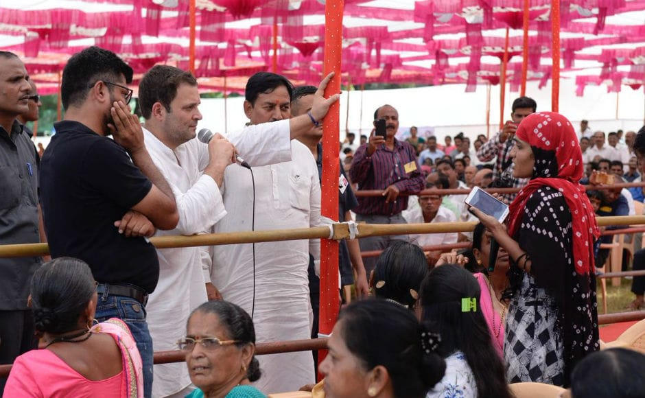 In the afternoon, he held a rally in Valsad, where he interacted with the farmers and assured them that if voted to power, the Congress would restore the earlier Land Acquisition Act which he called