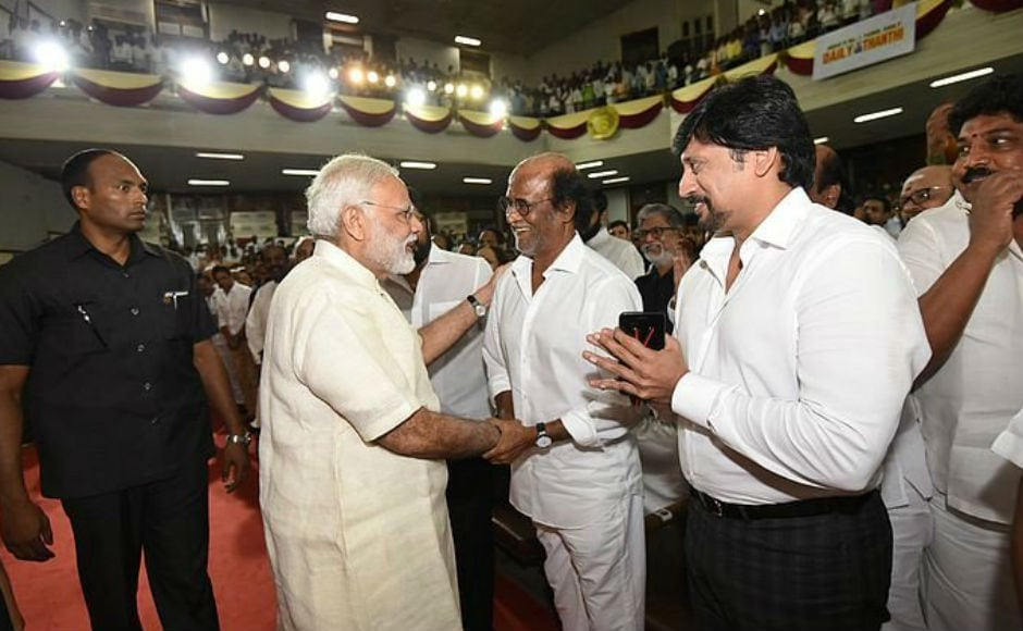 He told the gathering at Anna University Hall, where superstar Rajinikanth was also present, that a lot of the media discourse today revolves around politics. But, he said, India is more than just politicians; it's also125 crore Indians that makeIndia what it is. Image courtesy: Twitter/@PIB_India