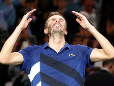 Julien Benneteau of France reacts after defeating Marin Cilic of Croatia during their quarterfinal match of the Paris Masters tennis tournament at the Bercy Arena in Paris, France, Friday, Nov. 3, 2017. Benneteau won 7-6, 7-5. (AP Photo/Michel Euler)