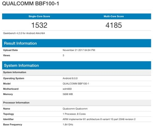 Benchmarks of BBF100-1. GeekBench