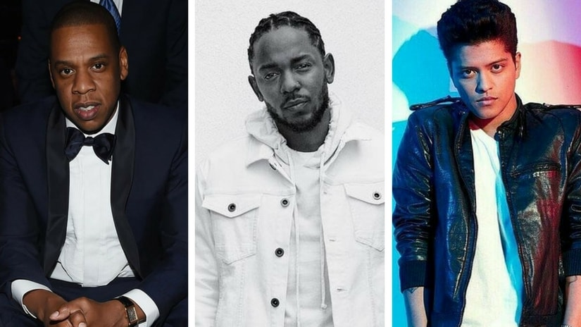 Grammys 2018 nominees: (From left) JAY-Z, Kendrick Lamar and Bruno Mars. Images via Facebook
