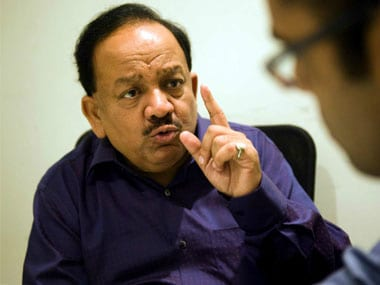 A file image of Union Health Minister Harsh Vardhan. PTI