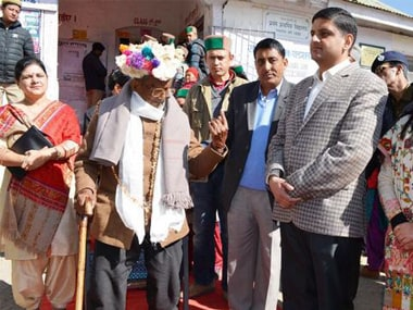 101-year-old Sharan Negi after casting his vote. S Chauhan/Firstpost
