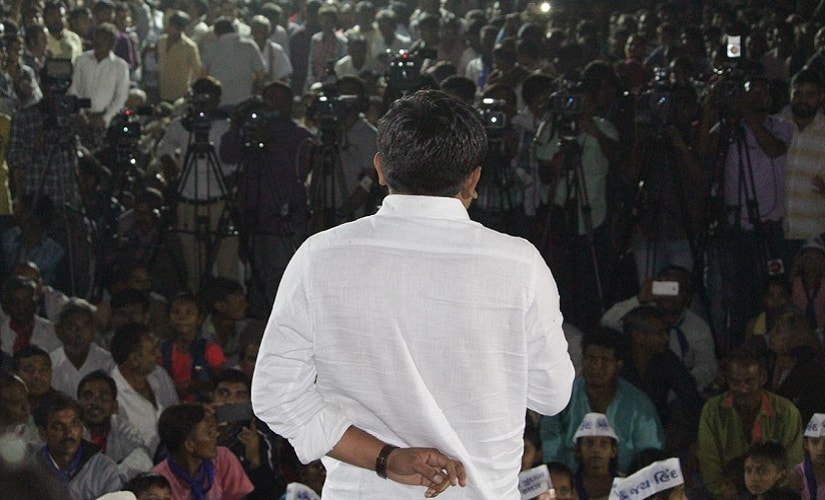 Hardik Patel addressing a rally comprising mostly of Patidar youth. Sandipan Sharma/Firstpost
