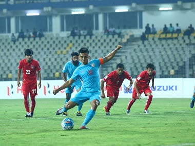 National team captain Sunil Chhetri scores India's first goal from penalty spot against Myanmar. Image Courtesy: AIFF