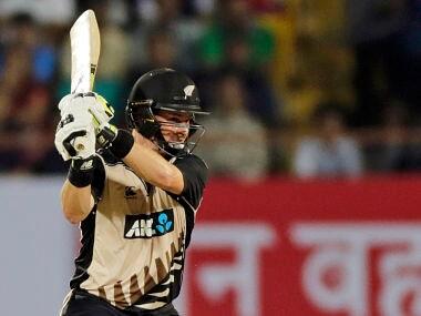 New Zealand's Colin Munro bats during the second Twenty20 cricket match against India in Rajkot, India, Saturday, Nov. 4, 2017. (AP Photo/Rajanish Kakade)