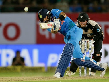 Virat Kohli showed fight in 2nd T20I before he was dismissed by Mitchell Santner. AP