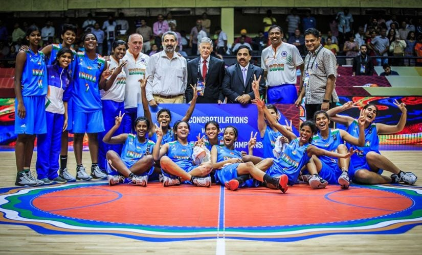 India's U-16 basketball team with the coach and support staff. Image courtesy: Twitter