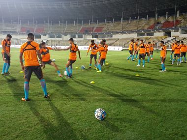 Indian football team involved in a training session ahead of their tie against Myanmar. Image Courtesy: @IndianFootball