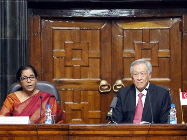 The Minister for Defence, Smt. Nirmala Sitharaman making a press statement after bilateral talks with the Defence Minister of Singapore, Dr. Ng Eng Hen, in New Delhi on November 29, 2017.