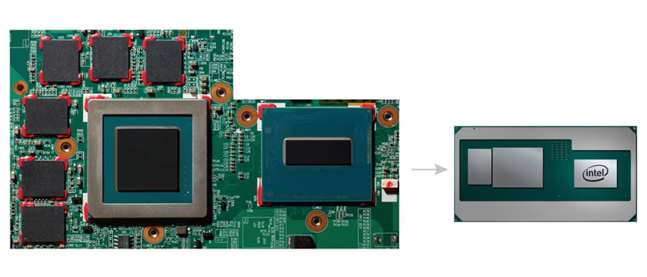 Intel proposes to put the GPU and its storage on one chip, drastically reducing the size of the overall chipset