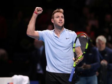 USA's Jack Sock celebrates winning his group stage match against Croatia's Marin Cilic. Reuters
