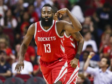 Houston Rockets guard James Harden reacts after scoring a basket during the first quarter against the Utah Jazz at Toyota Center. Reuters