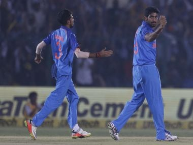 Jasprit Bumrah (R) and Yuzvendra Chahal were the pick of the Indian bowlers against New Zealand in the final T20I. AP