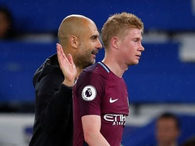 File image of Manchester City manager Pep Guardiola with Kevin De Bruyne. Reuters