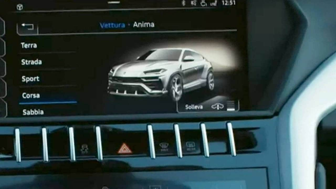 The Lamborghini Urus SUV spotted in a screen grab from its teaser promotional video.