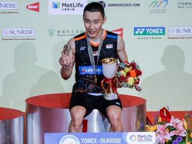 Lee Chong Wei poses after clinching his 46th Superseries title. AFP